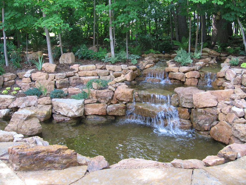 WATER FEATURES. landscape waterfall - Landscape Water Features & Pergolas Green Meadows Inc.